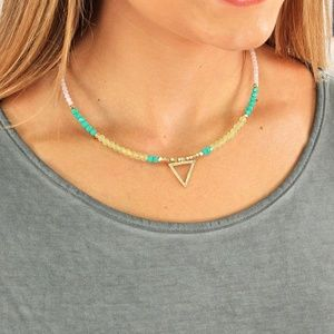 Colorful Beaded Wire Choker With Triangle Charms